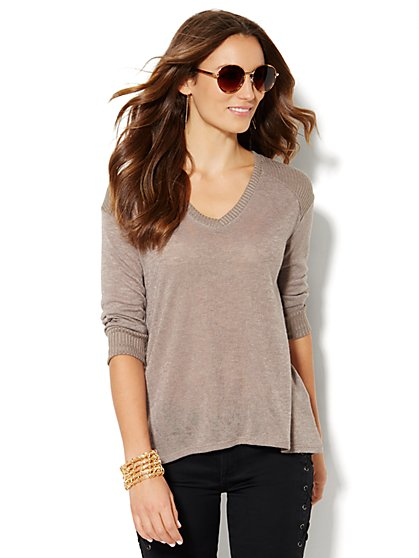 Hi-Lo Ribbed Knit Pullover  - New York & Company