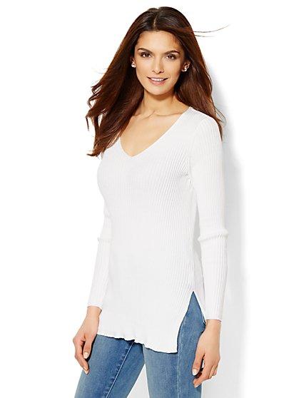Hi-Lo Ribbed Sweater - New York & Company