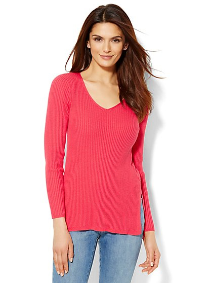 Hi-Lo Ribbed Sweater - New York & Company