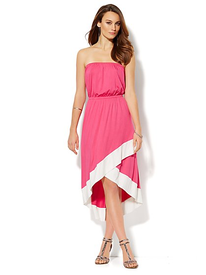 Hi-Lo Strapless Midi Dress - New York & Company