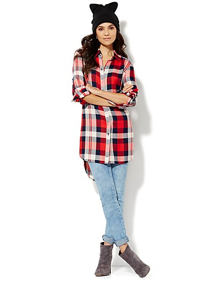 Hi-Lo Tunic - Red Plaid  - New York & Company