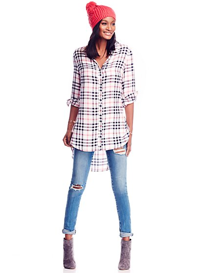 Hi-Lo Tunic - White Plaid  - New York & Company