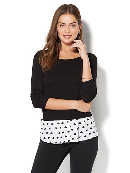 Hi-Lo Twofer Sweater - Heart Print - New York & Company