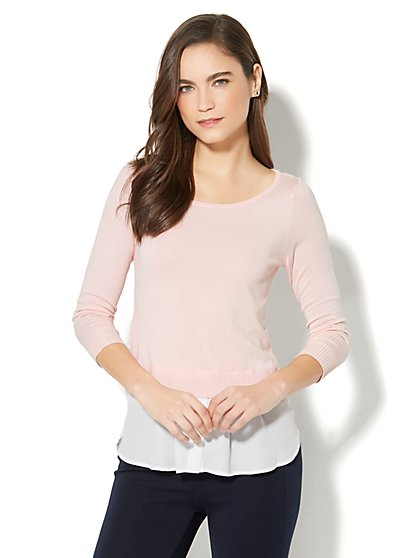 Hi-Lo Twofer Sweater - Pink - New York & Company