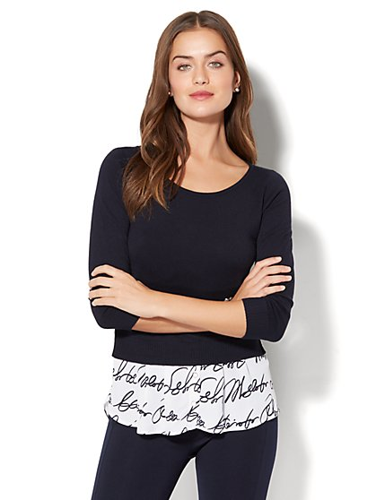 Hi-Lo Twofer Sweater - Script Print - New York & Company