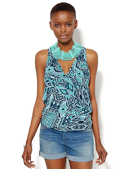 Hi-Lo Wrap Halter Top - Print - New York & Company