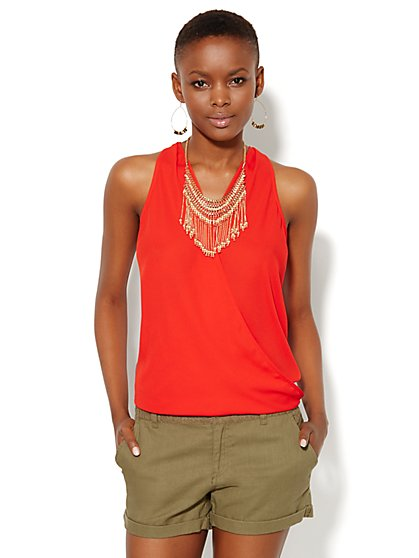 Hi-Lo Wrap Halter Top - New York & Company