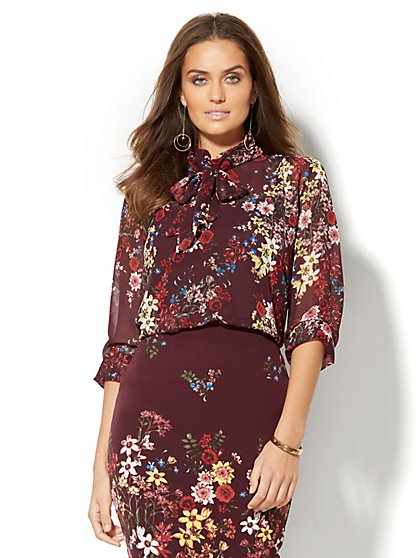 High-Neck Chiffon Blouse - Burgundy Floral   - New York & Company