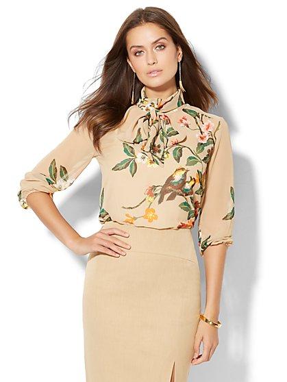 High-Neck Chiffon Blouse - Camel Floral  - New York & Company