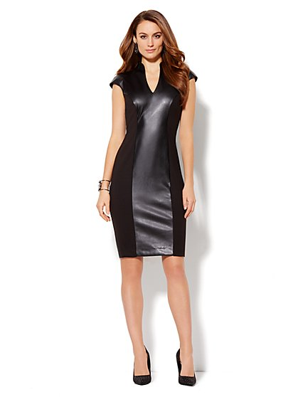 High-Neck Seamed Dress - Faux Leather - New York & Company