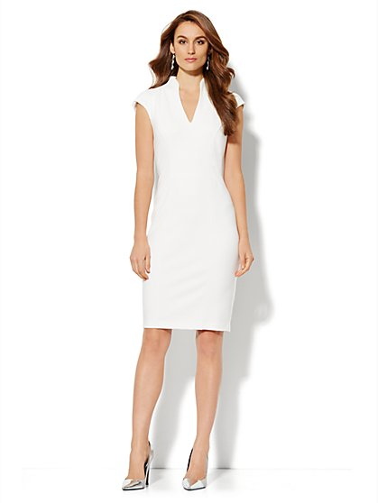 High-Neck Seamed Dress