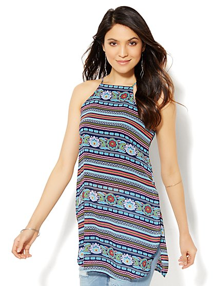 High Slit Halter Tunic - Geo Tile Print - New York & Company