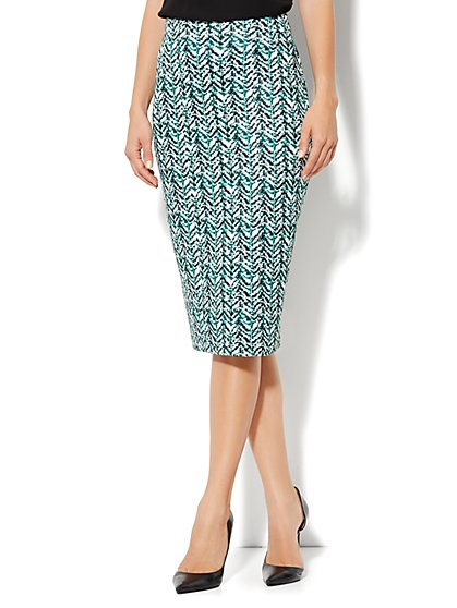 High-Waist Knit Pencil Skirt - Abstract-Herringbone Print