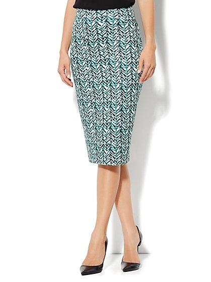 High-Waist Knit Pencil Skirt - Abstract-Herringbone Print  - New York & Company