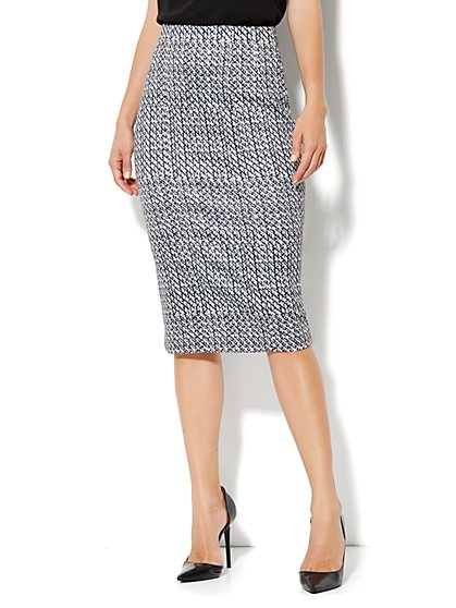 High-Waist Knit Pencil Skirt - Abstract Print