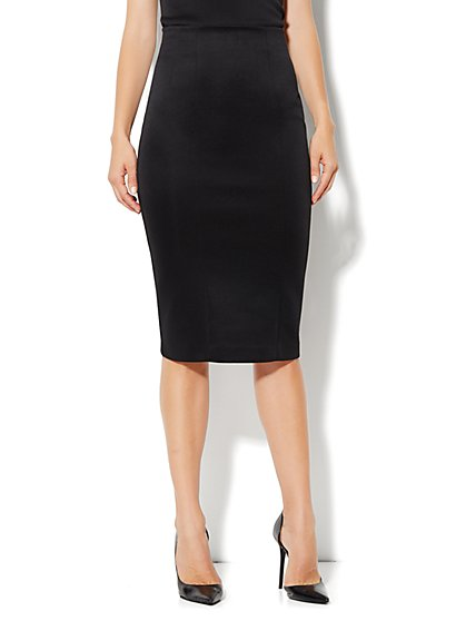 High-Waist Knit Pencil Skirt