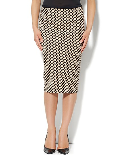 High-Waist Pencil Skirt - Diamond Print