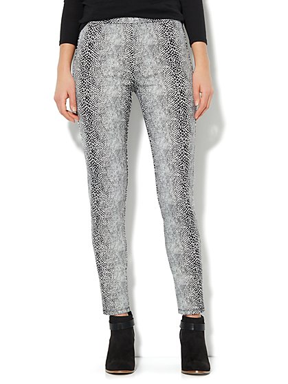 High-Waist Pull-On Ponte Legging - Snake Print - New York & Company