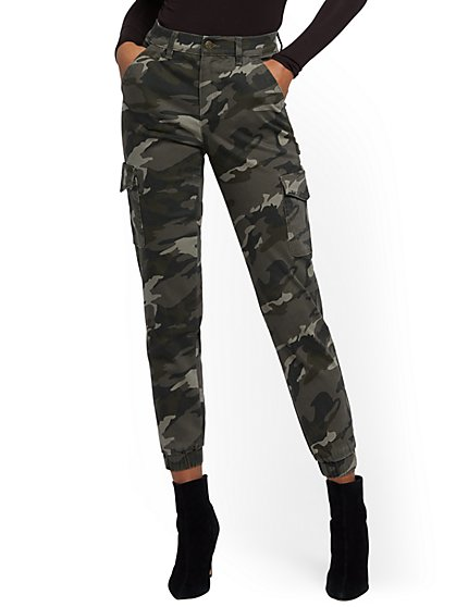 High-Waisted Cargo Ankle Jeans - Camo Print - New York & Company