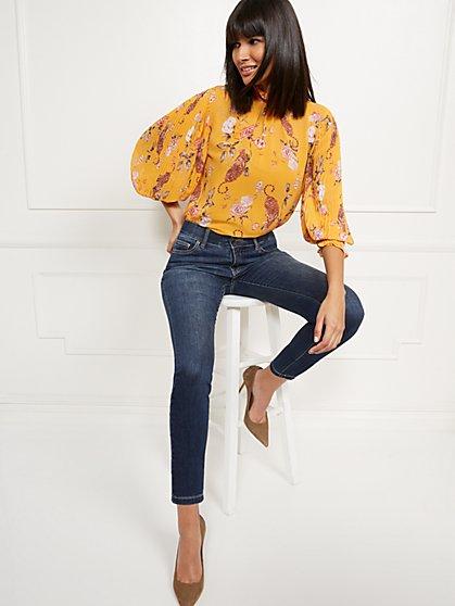 High-Waisted Curvy No-Gap Shaping Super-Skinny Jeans - Blue Hustle - New York & Company