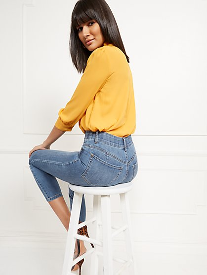 High-Waisted Curvy No-Gap Shaping Super-Skinny Jeans - Blue Rock - New York & Company