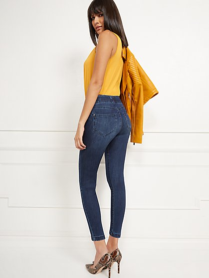 High-Waisted No-Gap Pull-On Legging - Blue Tease - New York & Company