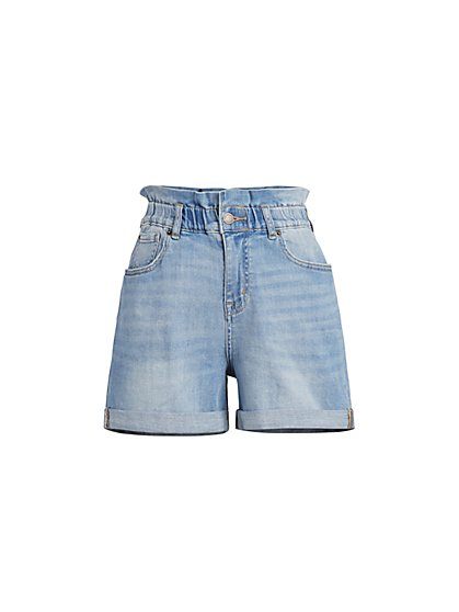 High-Waisted Paperbag 5-Inch Short - Greenwich Blue - New York & Company