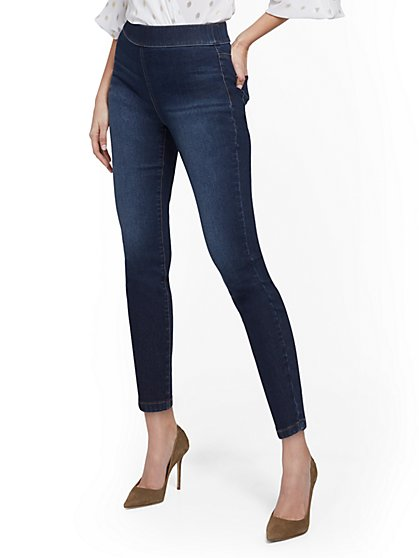 High-Waisted Pull-On Ankle Pant - Blue Tease - New York & Company