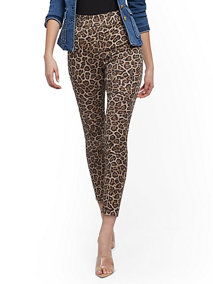 High-Waisted Pull-On Ankle Pant - Leopard - New York & Company