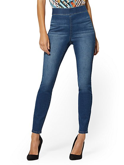 High-Waisted Pull-On Legging - Blue Wash - New York & Company