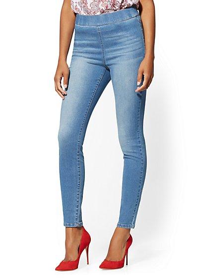 High-Waisted Pull-On Legging - Light Blue - New York & Company