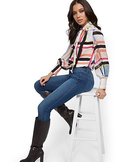 High-Waisted Slimming No Gap Super-Skinny Jeans - Medium Blue - New York & Company