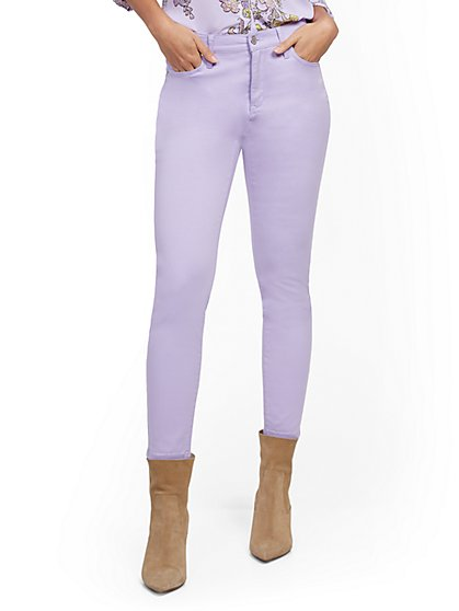 High-Waisted Super-Skinny Ankle Jeans - Lavender - New York & Company