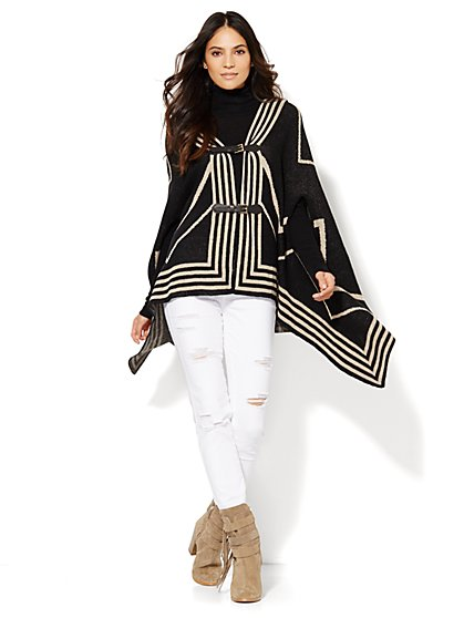 Hooded Buckle-Closure Poncho - New York & Company