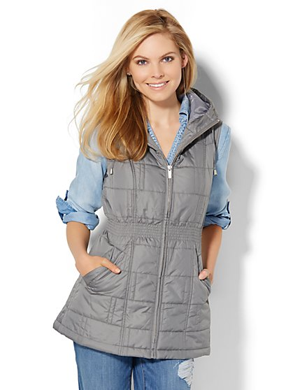 Hooded Cinched-Waist Puffer Vest  - New York & Company