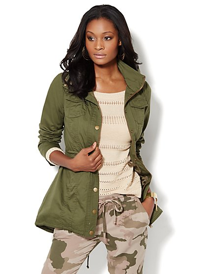 Hooded Cotton Anorak  - New York & Company