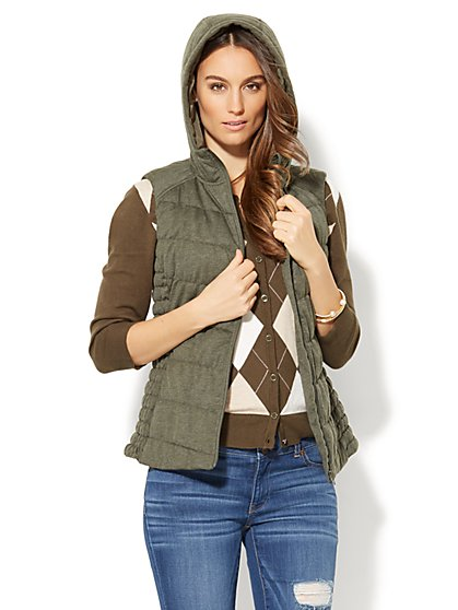 Hooded Knit Puffer Vest - New York & Company