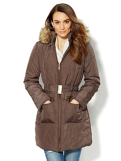 Hooded Puffer Coat - Café Brown  - New York & Company