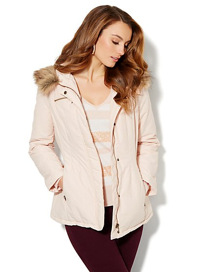 Hooded Puffer Jacket - Peach - New York & Company