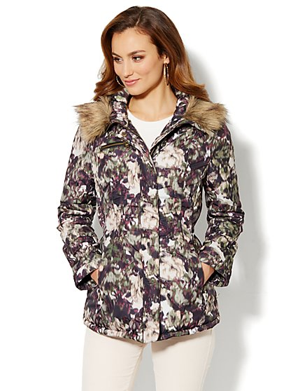 Hooded Puffer Jacket - Watercolor-Brushstroke - New York & Company