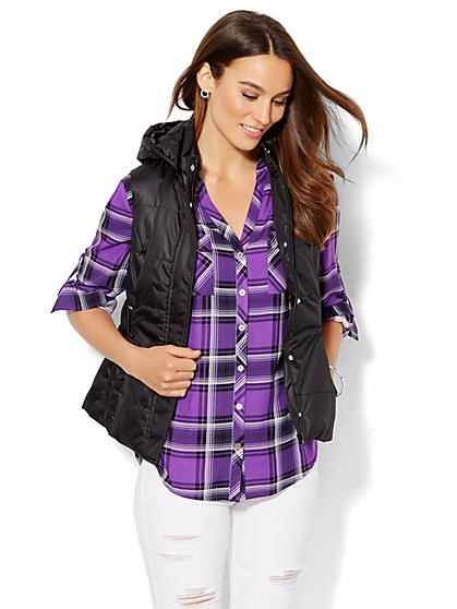 Hooded Puffer Vest - New York & Company