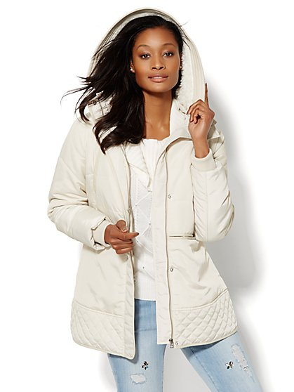 Hooded Quilted Puffer Jacket - Chalk  - New York & Company