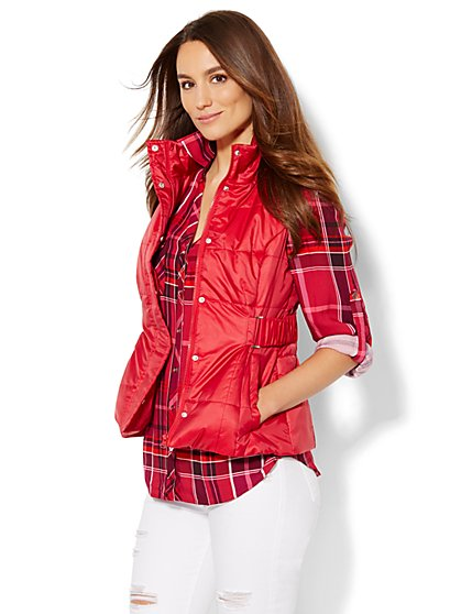Hooded Quilted Puffer Vest - New York & Company