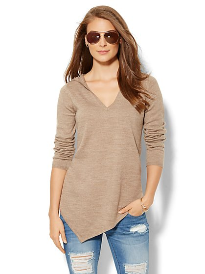 Hooded Tunic Sweater  - New York & Company