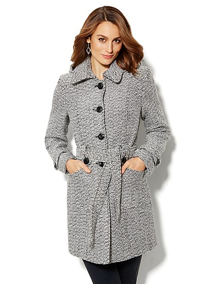 Hooded Tweed Boucle Coat - New York & Company