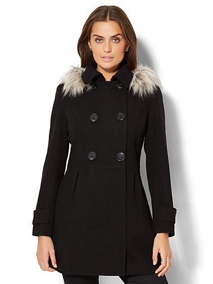 Hooded Wool-Blend Coat - New York & Company