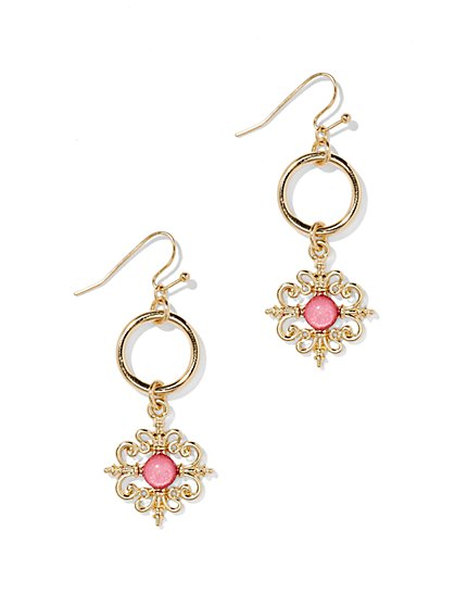 Hoop & Medallion-Drop Earring  - New York & Company