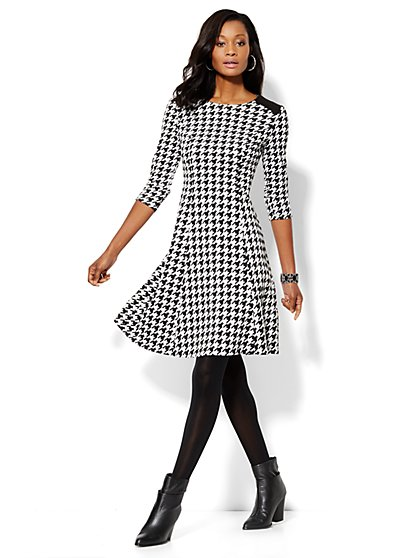 Houndstooth Fit & Flare Dress - New York & Company