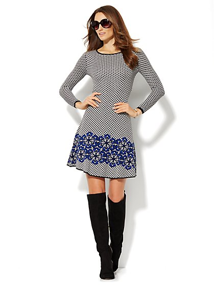 Houndstooth/Floral Sweater Dress - New York & Company
