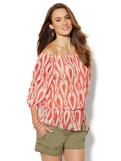 Ikat Mesh Peasant Blouse - New York & Company